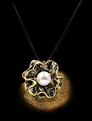 cheap -Women's Ivory Pearl Pendant Necklace Ruffle Floral / Botanicals Flower Artistic Rustic European French Brass Black 50 cm Necklace Jewelry 1pc For Anniversary Party Evening Street Gift Festival