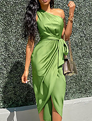 cheap -Women's Wrap Dress Midi Dress Army Green Sleeveless Solid Color Lace up Spring & Summer One Shoulder Stylish Hot Sexy 2021 S M L XL
