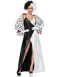 cheap -Cruella De Vil Dress Cosplay Costume Adults' Women's Halloween Halloween Festival Halloween Festival / Holiday Terylene Black Women's Easy Carnival Costumes Spot / Shawl / Gloves / Shawl / Gloves