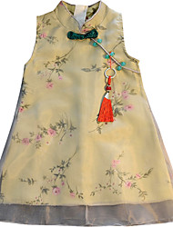 cheap -little girls qipao dress green cute floral chinese style size 5