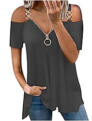 cheap -womens summer top fashion short sleeve strapless casual t-shirt daily loose fit lace tunic zipper v-neck blouses tops dark gray