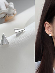 cheap -s925 silver needle korean temperament simple and compact paper airplane earrings personality sweet girl small fresh earrings h712