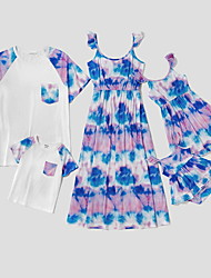 cheap -Family Sets Family Look Cotton Tie Dye Print White Daily Matching Outfits / Summer