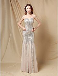 cheap -Mermaid / Trumpet Sparkle Sexy Wedding Guest Formal Evening Dress Spaghetti Strap Sleeveless Floor Length Sequined with Sequin 2021