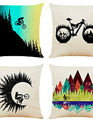 cheap -Cycle Double Side Cushion Cover 4PC Soft Decorative Square Throw Pillow Cover Cushion Case Pillowcase for Bedroom Livingroom Superior Quality Machine Washable Outdoor Cushion for Sofa Couch Bed Chair Sport