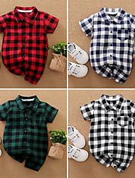 cheap -Baby Boys' Romper Basic Cotton Blue Green Black Plaid / Check Print Short Sleeves / Summer