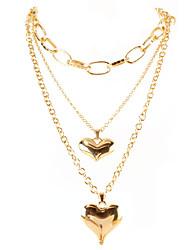 cheap -retro necklace alloy peach heart pendant box chain multi-layer necklace fashion street style necklace female