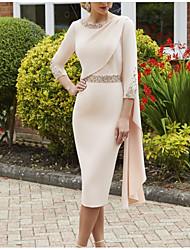 cheap -Sheath / Column Mother of the Bride Dress Elegant Jewel Neck Knee Length Stretch Fabric 3/4 Length Sleeve with Sash / Ribbon Sequin 2021