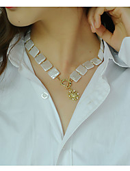 cheap -jewelry alloy sun flower pendant flat pearl necklace sweet cool style necklace female