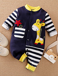 cheap -Baby Boys' Romper Basic Cotton Navy Blue Deer Striped Animal Print Long Sleeve / Summer