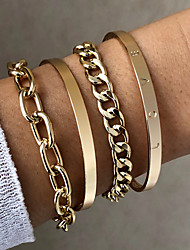 cheap -Chain Bracelet Set Bracelet Bangles Layered Fashion Fashion Holiday Punk Baroque Alloy Bracelet Jewelry Gold For Gift Formal Date Beach Festival