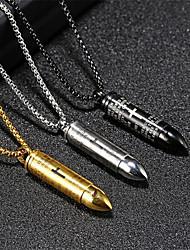 cheap -Men's Pendant Necklace Classic Bullet Fashion Titanium Steel Silver Gold Black 55 cm Necklace Jewelry 1pc For