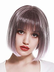 cheap -8'' short synthetic bob wigs with air bangs for women fashion colorful cosplay party daily wear wig straight heat resistant fiber with wig brush  wig cap t-sw202#smoky lilac