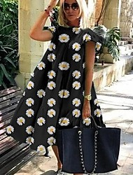 cheap -Women's A Line Dress Knee Length Dress Light Blue Pure black Daisy Pure rose red Pure color powder Daisy green Blushing Pink Green White Black Short Sleeve Floral Animal Smocked Print Spring Summer