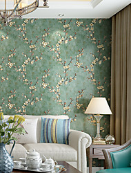 cheap -Wallpaper Wall Cover Sticker Film Peel and Stick Removable Self Adhesive Embossed Plum Blossom Non Woven Home Decoration 300*53cm