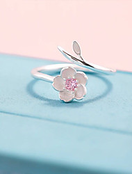 cheap -korea dongdaemun creative fresh cherry flower necklace women's set s925 sterling silver customized ring earrings clavicle chain