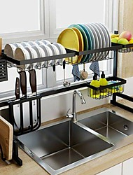 cheap -Stainless Steel Over Sink Dish Drying Rack Drainer Kitchen Cutlery Shelf 2-Tier Furniture