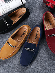 cheap -Men's Loafers & Slip-Ons Suede Shoes Moccasin Driving Shoes Daily Office & Career Suede Cowhide Yellow Red Blue Fall