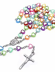 cheap -beads rosary catholic - colorful heart plastic round beads religious jewelry cross necklace gift for boys girls men women