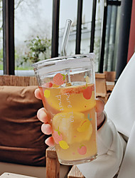 cheap -Glass Straw Portable Water Cup Juice Milk Tea Cartoon Glass with Straw Drink Cup Creative Cute Office Milk Cup Creative Juice Drinking Cup