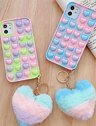 cheap -Cute 3D Love Heart Pendant Phone Case For iPhone 12 11 Pro MAX Mini X XS XR SE 6 7 8 Plus Camouflage Soft Silicone Back Cover