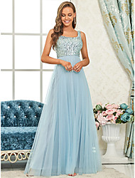 cheap -A-Line Spaghetti Strap Floor Length Tulle / Sequined Bridesmaid Dress with Sequin