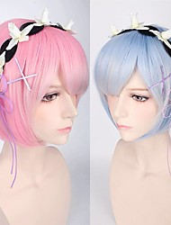 cheap -Cosplay Rem Ram Cosplay Wigs Women's Short Bob With Bangs 12 inch Heat Resistant Fiber Straight Pink Blue Teen Adults' Anime Wig
