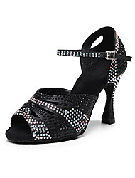 cheap -Women's Latin Shoes Heel Crystals Flared Heel Open Toe Camel Black Brown Ankle Strap Adults Children's Glitter Crystal Sequined Jeweled / Performance / Satin / Practice