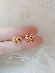 cheap -s925 silver needle delicate hollow lace bow ribbon earrings simple and compact french temperament girl earrings korea