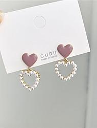 cheap -s925 silver needle korea hollow love pearl earrings earrings sweet temperament dripping nectarine heart earrings earrings 903