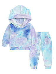 cheap -Kid's Unisex Hoodie & Sweatshirt Pants 2 Pieces Long Sleeve Blue tie-dye suit Yellow tie-dye suit Gray tie-dye suit Yarn Dyed Cotton Chic & Modern