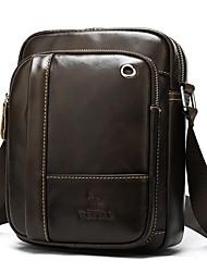 cheap -Men's Bags Nappa Leather Cowhide Crossbody Bag Zipper Daily Messenger Bag Coffee
