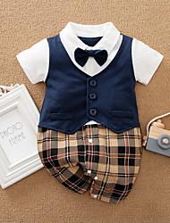 cheap -Baby Boys' Romper Basic Cotton Khaki Navy Blue Striped Plaid Bow Print Short Sleeves / Summer