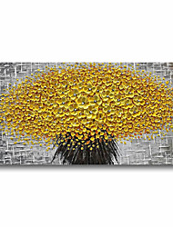 cheap -Oil Painting Handmade Hand Painted Wall Art Plant Flowers Yellow Grey 3D Palette Knife Home Decoration Decor Stretched Frame Ready to Hang