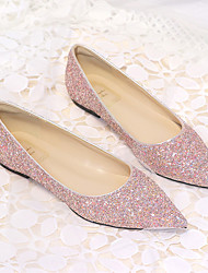 cheap -Women's Flats Flat Heel Pointed Toe Party Daily Synthetics Solid Colored Pink Champagne Silver