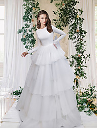 cheap -A-Line Wedding Dresses Jewel Neck Sweep / Brush Train Tulle Italy Satin Long Sleeve Formal Simple Luxurious Backless with Cascading Ruffles 2021
