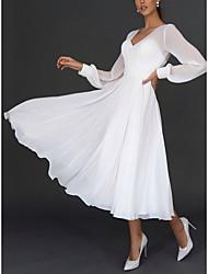 cheap -Women's Swing Dress Maxi long Dress White Long Sleeve Solid Color Wrap Spring Summer V Neck Elegant 2021 S M L XL XXL
