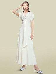 cheap -A-Line Mother of the Bride Dress Elegant V Neck Ankle Length Chiffon Short Sleeve with Ruching 2021