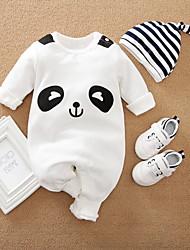 cheap -2 Pieces Baby Boys' Romper Basic Cotton White Panda Striped Animal Print Long Sleeve / Fall