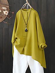 cheap -Women's Plus Size Tops Blouse Shirt Plain Long Sleeve Crewneck Basic Daily Weekend Washable Cotton Fabric Fall Summer Red khaki