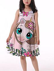 cheap -Kids Little Girls' Dress Fantastic Beasts Unicorn Unicorn Tank Dress Ruched Print Rainbow Knee-length Sleeveless 3D Print Cute Dresses Spring & Summer Loose 4-13 Years