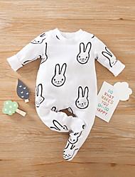 cheap -Baby Boys' Basic Rabbit Animal Print Long Sleeve Romper White