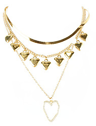 cheap -retro alloy heart-shaped pendant snake bone chain multi-layer necklace style street photography necklace
