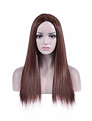 cheap -dark brown wigs straight long wig middle part women's hair wigs for cosplay halloween party or daily use wig cap included