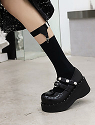 cheap -Women's Lolita Shoes Wedge Heel Round Toe Patent Leather Solid Colored Black