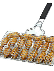 cheap -Portable Stainless Steel BBQ Barbecue Grilling Basket for Fish Vegetables Shrimp and Small Flat Sea Food Useful BBQ Tool
