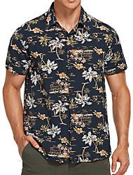 cheap -Men's Shirt Coconut Tree Button-Down Short Sleeve Street Tops Casual Hawaiian Comfortable Yellow White Black