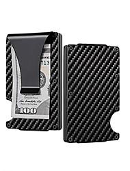 cheap -Multifunctional carbon fiber men's pocket card holder metal anti-theft credit card wallet