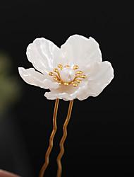 cheap -original new style antique headgear simple hanfu hair accessories white camellia costume hairpin antique hanfu accessories wholesale