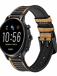 cheap -ca0001 acoustic guitar leather & silicone smart watch band strap for fossil wristwatch size (20mm)